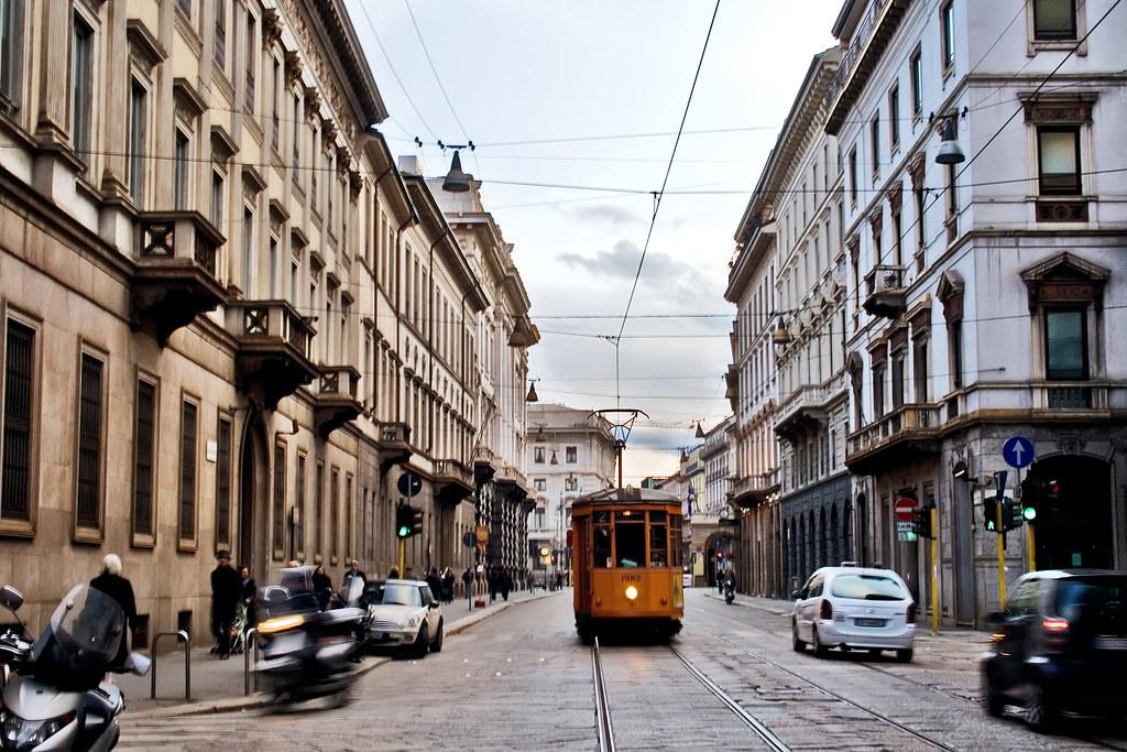 A tram in Via Manzoni,...