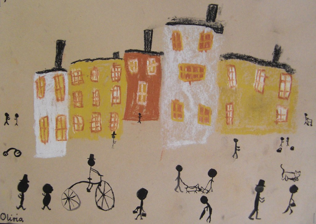 Classroom Display Ideas Victorians : Lowry townscapes at the end of a project about