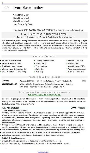 ... PA (Executive - Director Level) CV - Resume | by mikelley