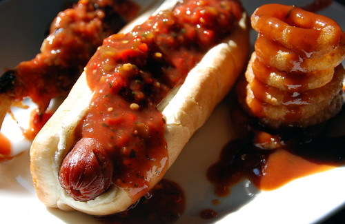 Hot Dog, Onion Rings with Homemade Ketchup | by kimberley blue