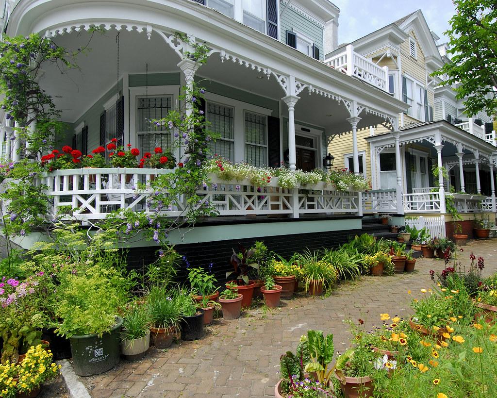 A Colorful Sidewalk Garden On Habersham Street In Savannah