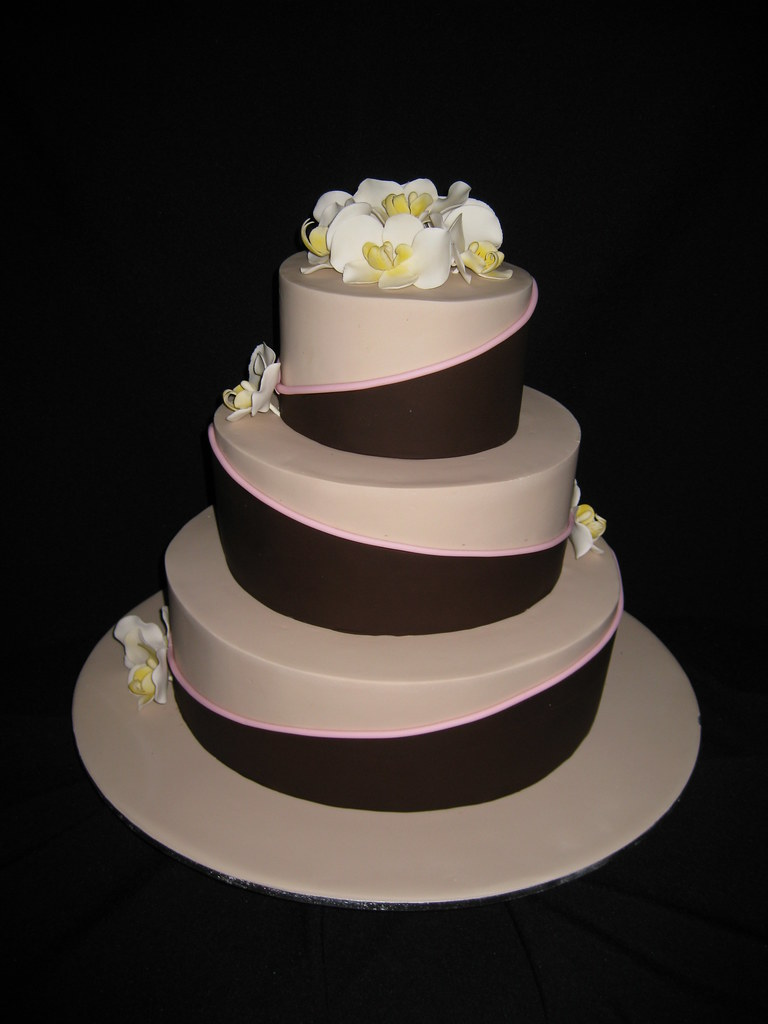Moth Orchid Wedding Cake 3 Tier Chocolate Mudcake