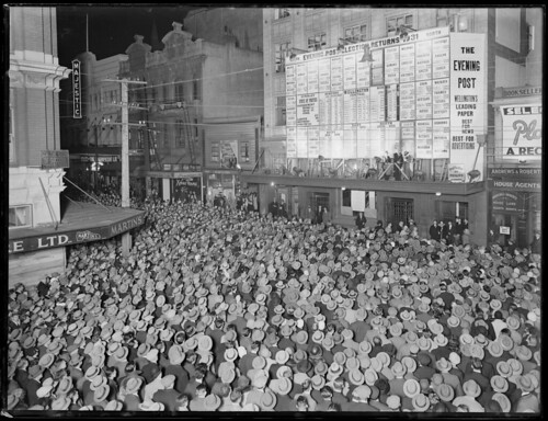 Crowd in Willis Street, Wellington, awaiting the results of the 1931 general election, 1931 | by National Library NZ on The Commons