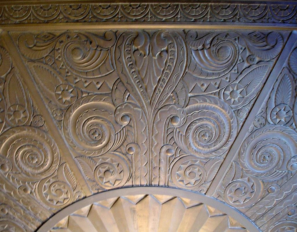 Architectural detail ceiling design art deco lobby 2090 for Art deco architectural details