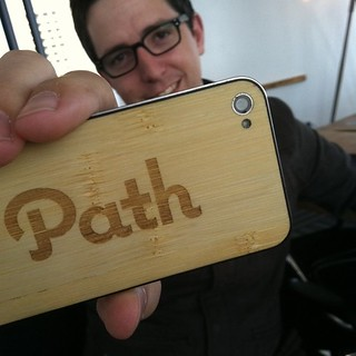 Dave Morin @davemorin shows off his http://jackbacks.com cool @path back for his iPhone. | by Robert Scoble