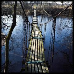 Funny swing-bridge over river Misa