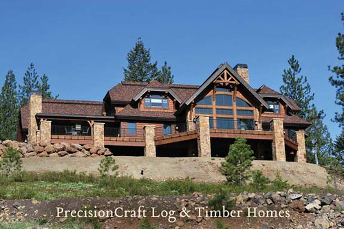 Exterior View Of Custom Timber Frame Home By Precisioncr