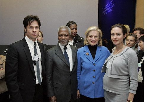 Secretary-General with Brad Pitt and Angelina Jolie in Davos | by United Nations Photo