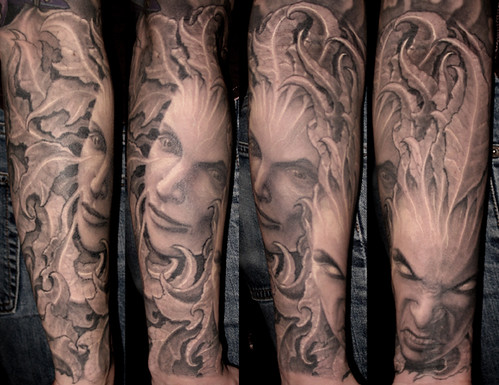 Comedy tragedy tattoo art by paul booth darkimages for Paul booth tattoo artist