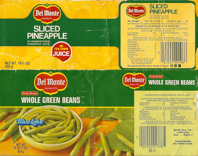 Canned Food Nutrition Labels