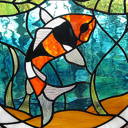 Stained Glass Koi with Water Lilies | by livingglassart home of oddballs and oddities