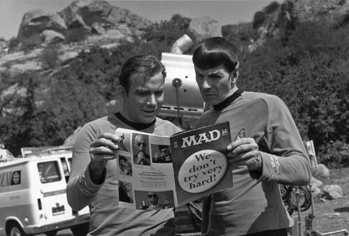 Shatner and Nimoy look at Mad Magazine | by birdofthegalaxy