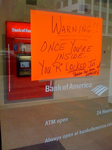 Bank of America ATM warning | by e. wilder
