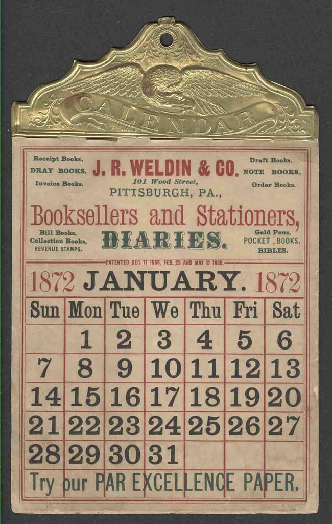 1872 Pittsburgh Pa Jr Weldin Co Bookseller Calendar
