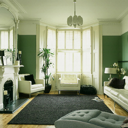 Green living room monochrome palette white accents flickr - Wohnzimmer schwetzingen ...