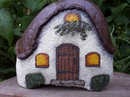 HAND PAINTED ROCK Thatched Roof Cottage | by WytcheHazel