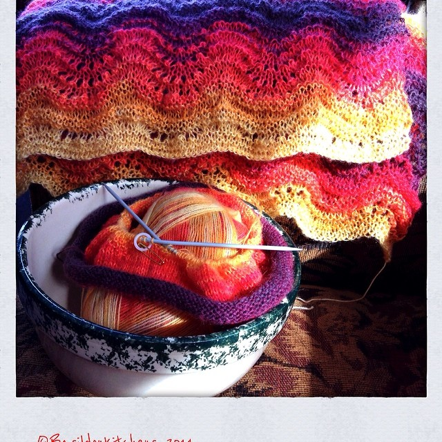 23/2/2014 - wooly - {shawl is almost complete & a matching hat is underway} #photoaday #knitting #wooly #wool #mohair