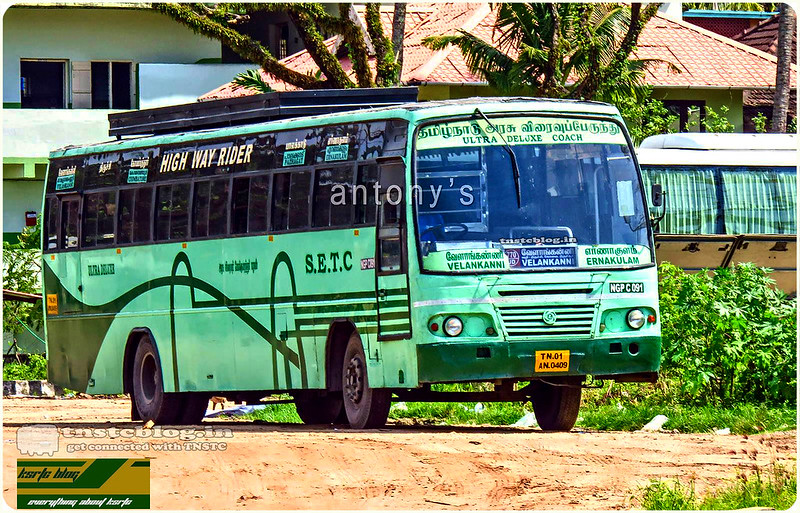 TN-01AN-0409 NGP C 091 of Nagapattinam Depot Route 770UD Velankanni - Ernakulam via Tanjore, Trichy, Karur, Coimbatore, Palakkad, Thrissur.