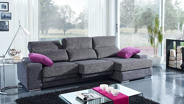 Sofa de 3 plazas en color gris cheviot y los cojines en co for Sofa modular gris