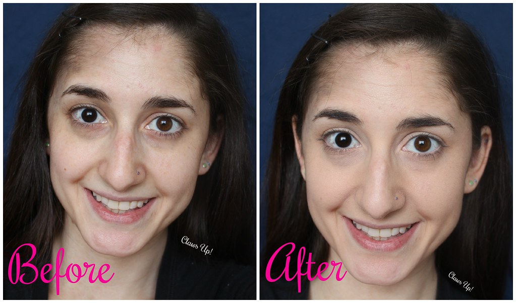 Before and after Contour makeup look with Physician's Formula Nude Wear Glowing Nude Powder and Physician's Formula Nude Wear of Glow