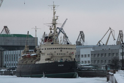 Icebreaker 'Красин' (Krasin) moored on the River Neva, now a museum ship