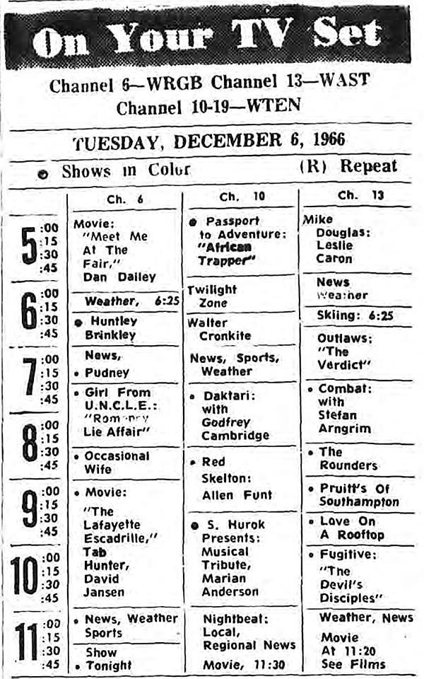 albany television tv schedule 1966 albany ny 1960s