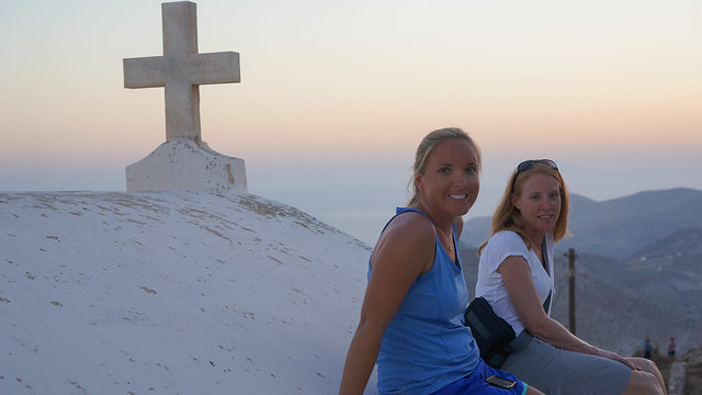 Watching the Folegandros sunset from the roof of a church