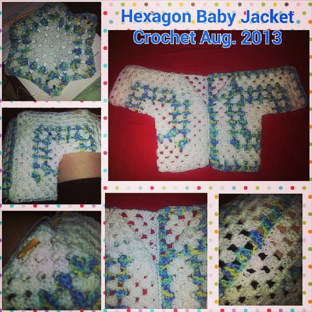 Hexagon Baby Jacket crochet completed Aug. 2013. Pattern a ...