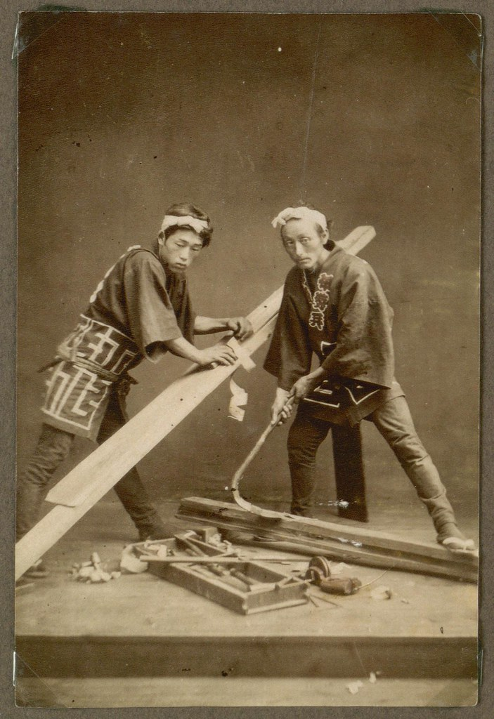 Japanese workmen carpenters working japan photographs for Holzverbindungen herstellen