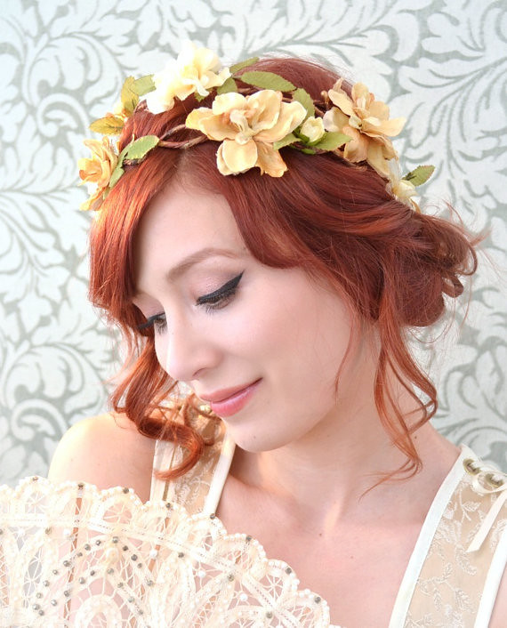 Country Wedding Hairstyles: Wedding Floral Crown, Rustic Bridal Hair Piece, Golden Flo