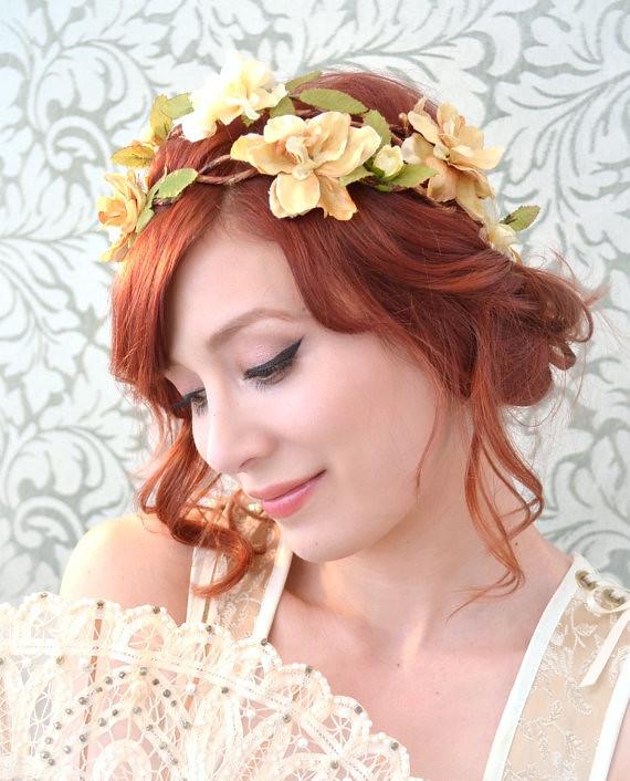 Flower Girl Wedding Hairstyles: Wedding Floral Crown, Rustic Bridal Hair Piece, Golden Flo
