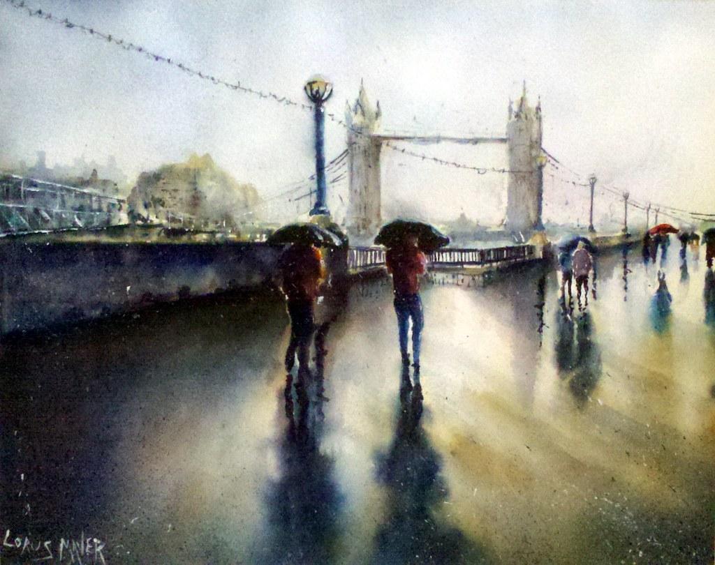 Tower Bridge, Walking in the rain   Watercolour painted on ...