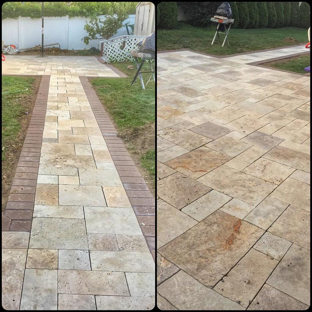 Travertine Stone Border : Travertine patio walkway with cambridge paver borders
