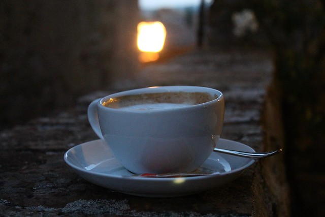 A cappucino in San Gimignano at dusk