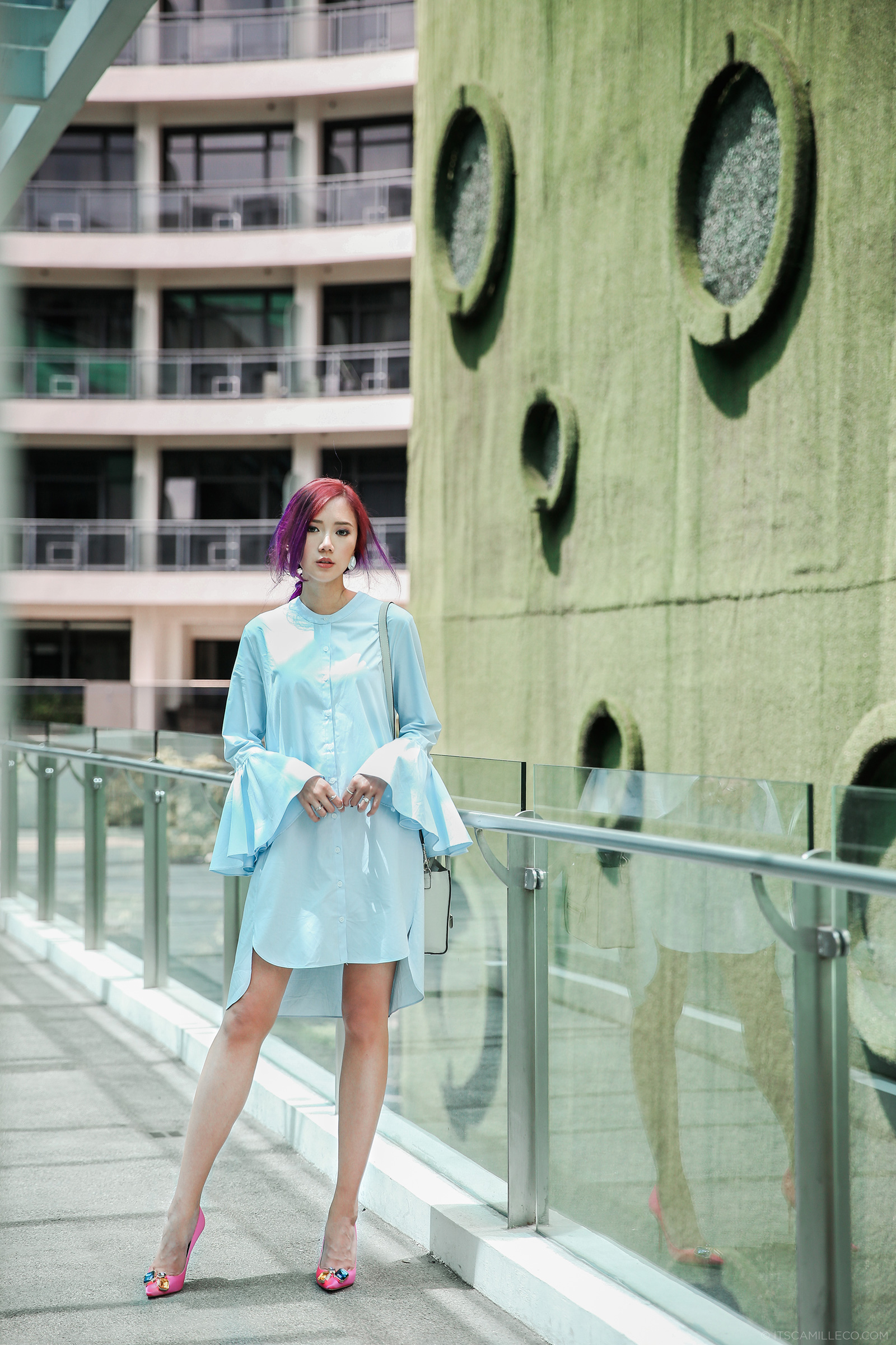 camille co in flared sleeves dress