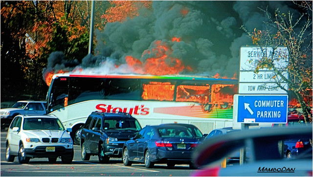 Bus On Fire Nj Garden State Parkway Flickr Photo Sharing