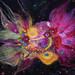 The LAUGHING CLOWN NEBULA -Needle Felted Wearable Art Brooch (XBY000-12) /Naerva Klouni Udukogu - vilditud pross