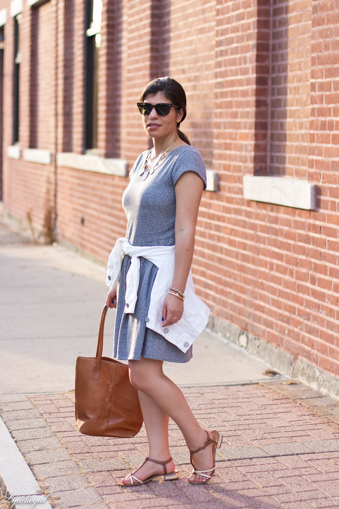 grey sweatshirt dress, white denim jacket, sandals-1.jpg