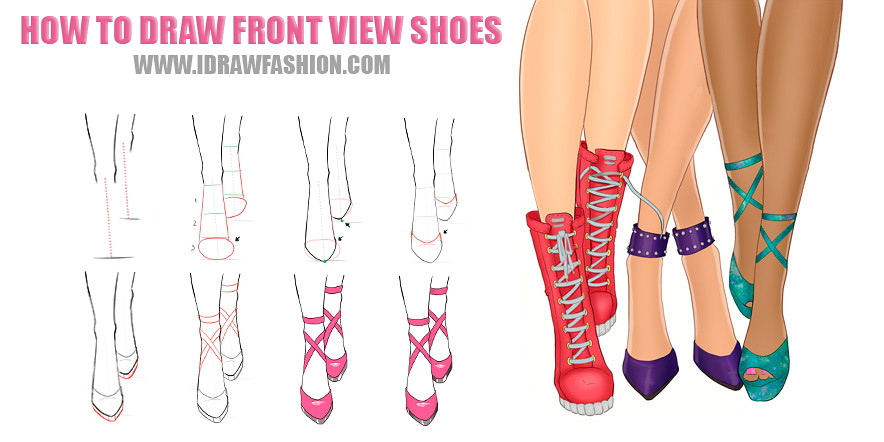 how to draw front vew shoes step by step how to draw