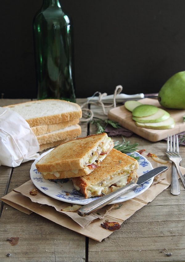 Pear Bacon and Brie Grilled Cheese with caramelized onions
