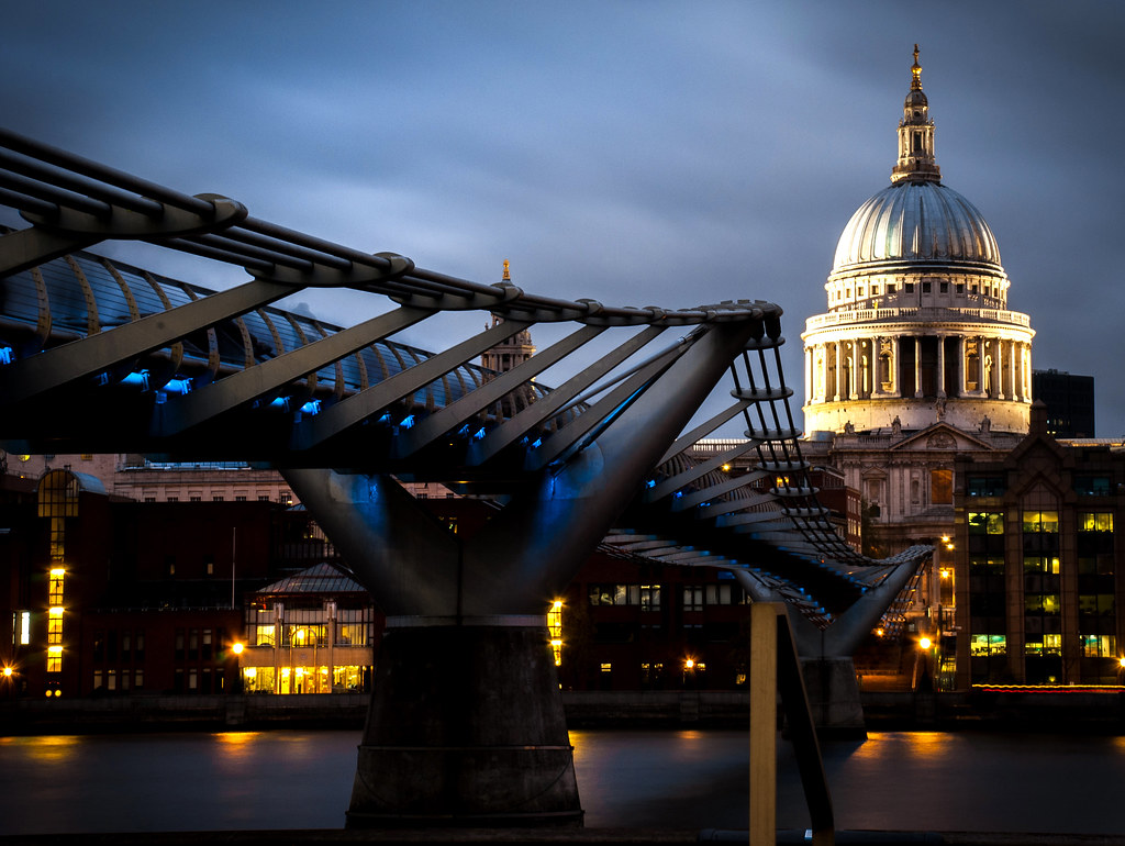 st pauls cathedral, st pauls, cathedral, london, bridge, dusk, millennium bridge