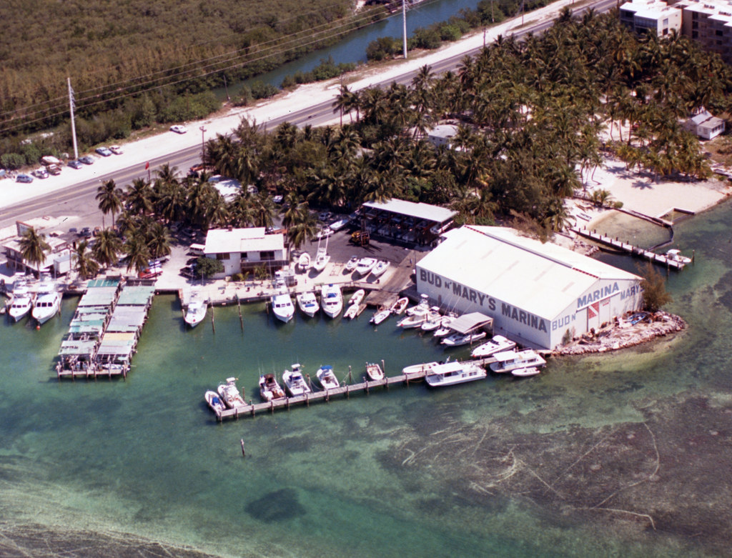 Mm00034919x aerial of bud and mary 39 s marina on upper for Bud and mary s fishing report