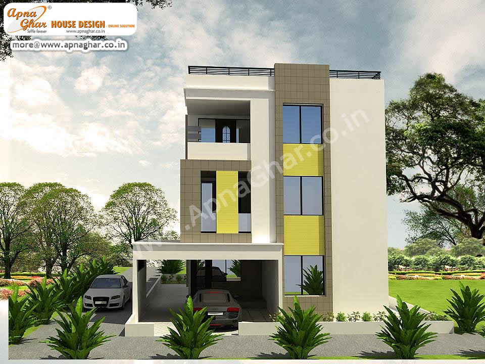 Simple modern 5 bedrooms triplex house design simple for 5 bedroom modern house plans