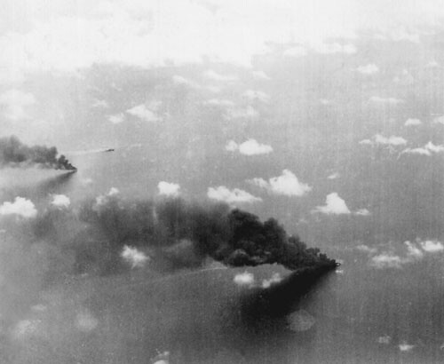 Japanese ships burning on the Bismarck Sea