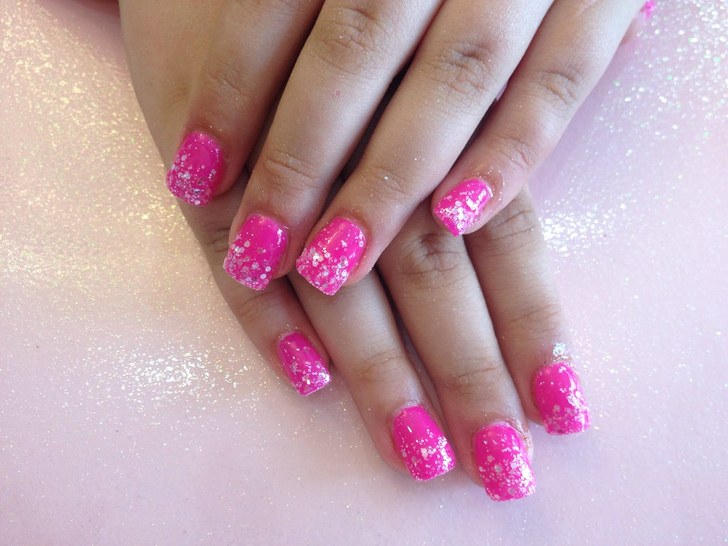 Pink Glitter Gel Nails Nails With Pink Gel And