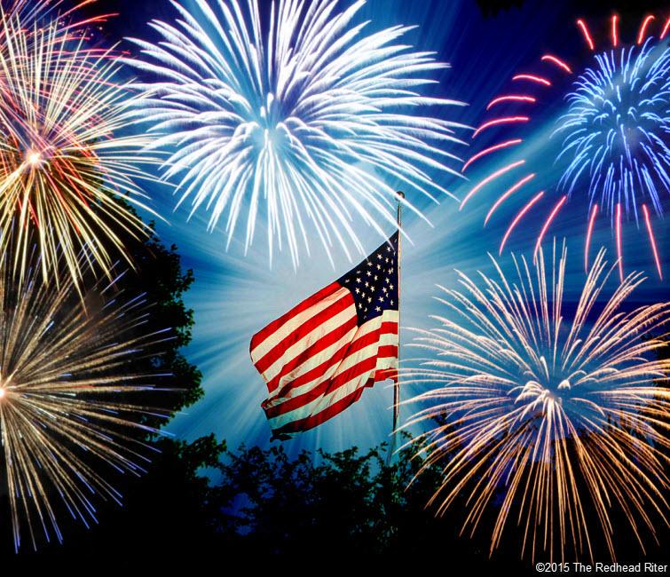 Fireworks July 4th United States flag