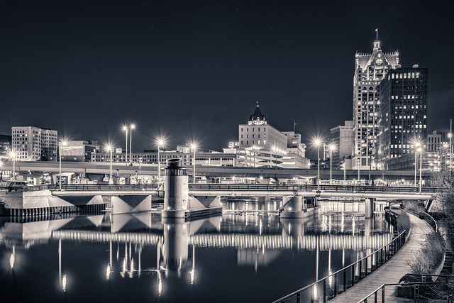 City, Night, City Lights, Milwaukee, Riverwalk,