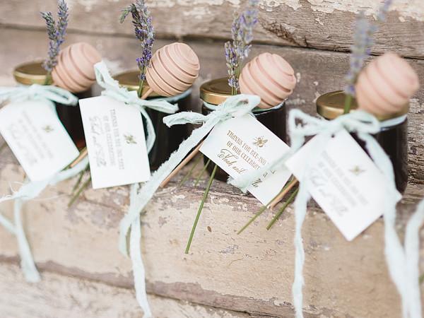Honey Jar Wedding Favors Tied with Cake Pop \