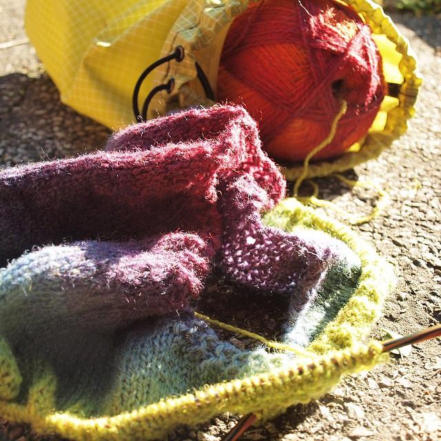 Rainbow shawl in the sun.