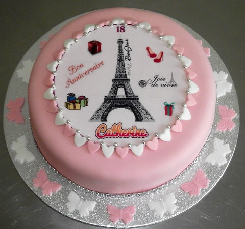 French Happy Birthday Cake